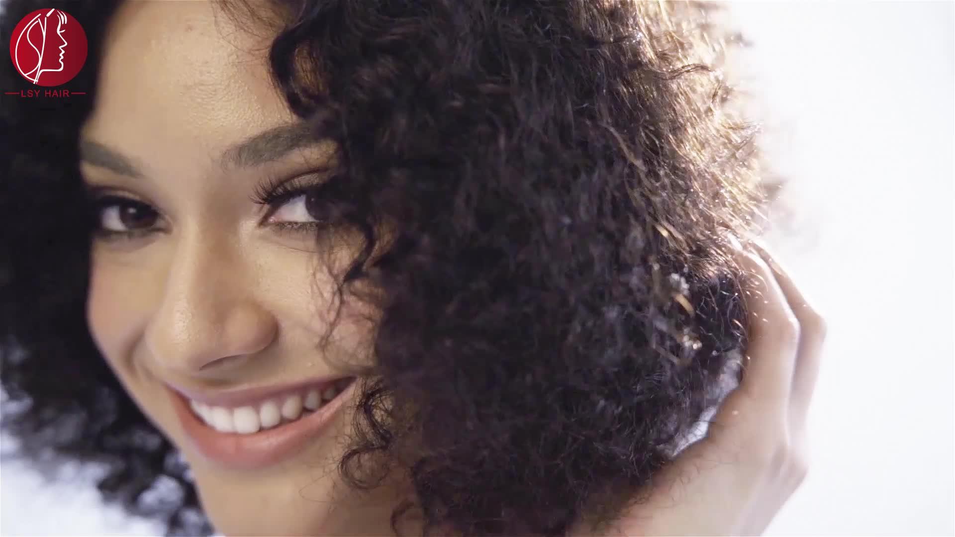 Lsy Groothandel Mongoolse Afro Kinky Krullend Menselijk Haar Weave Clip In Hair Extensions, braziliaanse Afro Clip ins 7 pcs 8 stuks Per Set