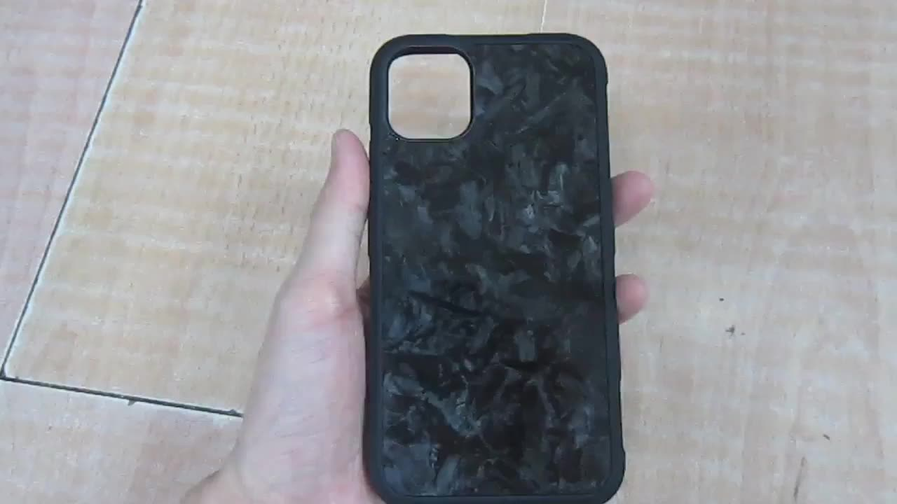 For iphone11pro accept OEM TPU PC real carbon fiber phone case forged carbon fiber