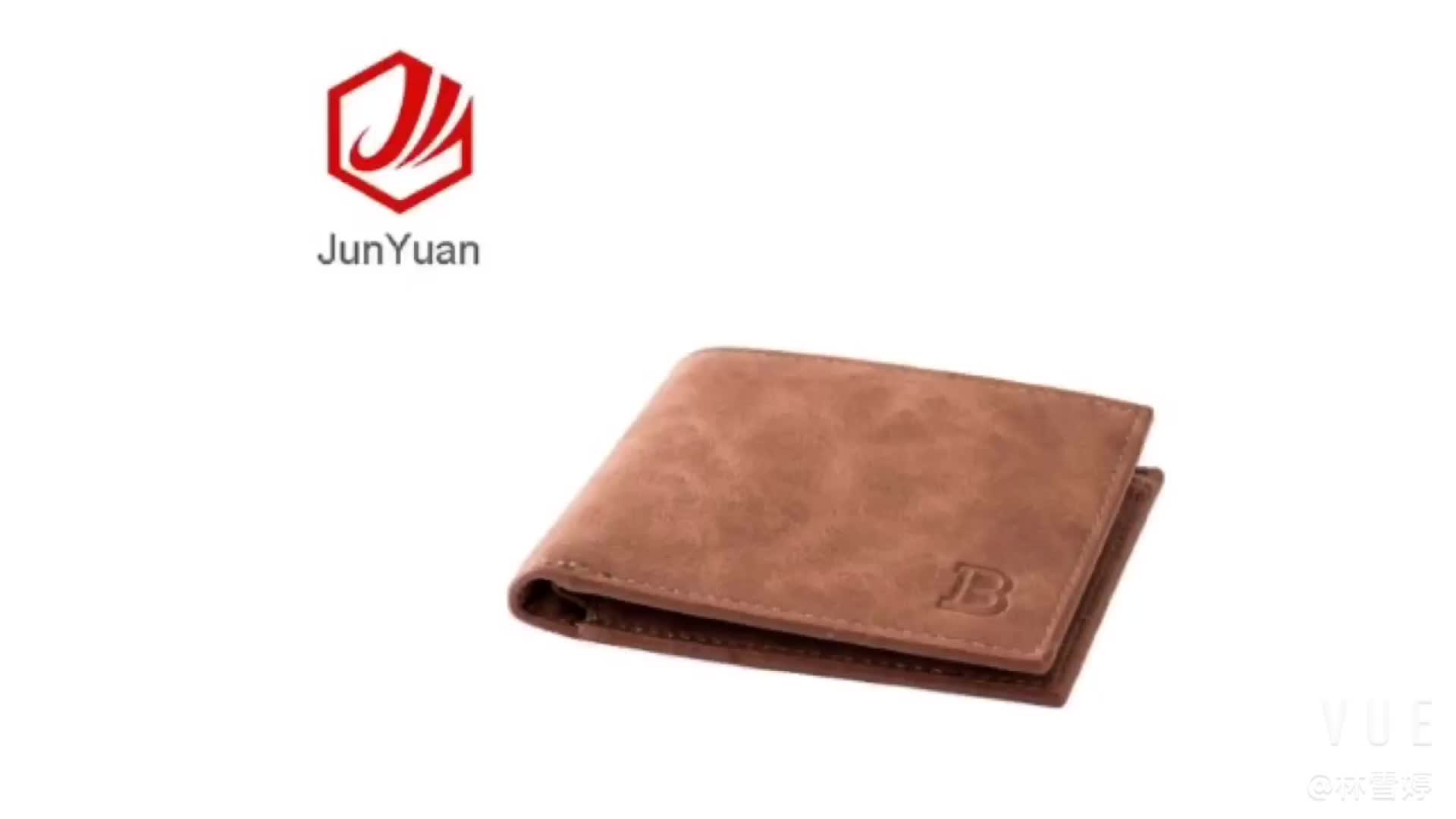 JUNYUAN New Design ID Card Leather Wallet  For Men