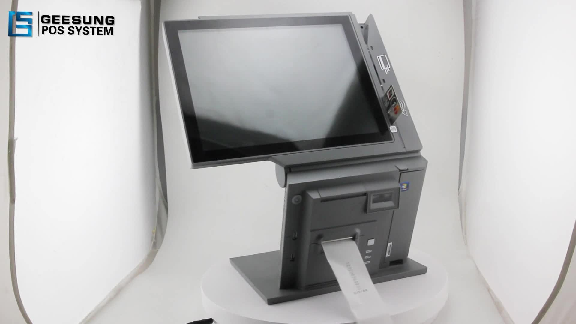 Dual screen capacitive touch pos with printer scanner