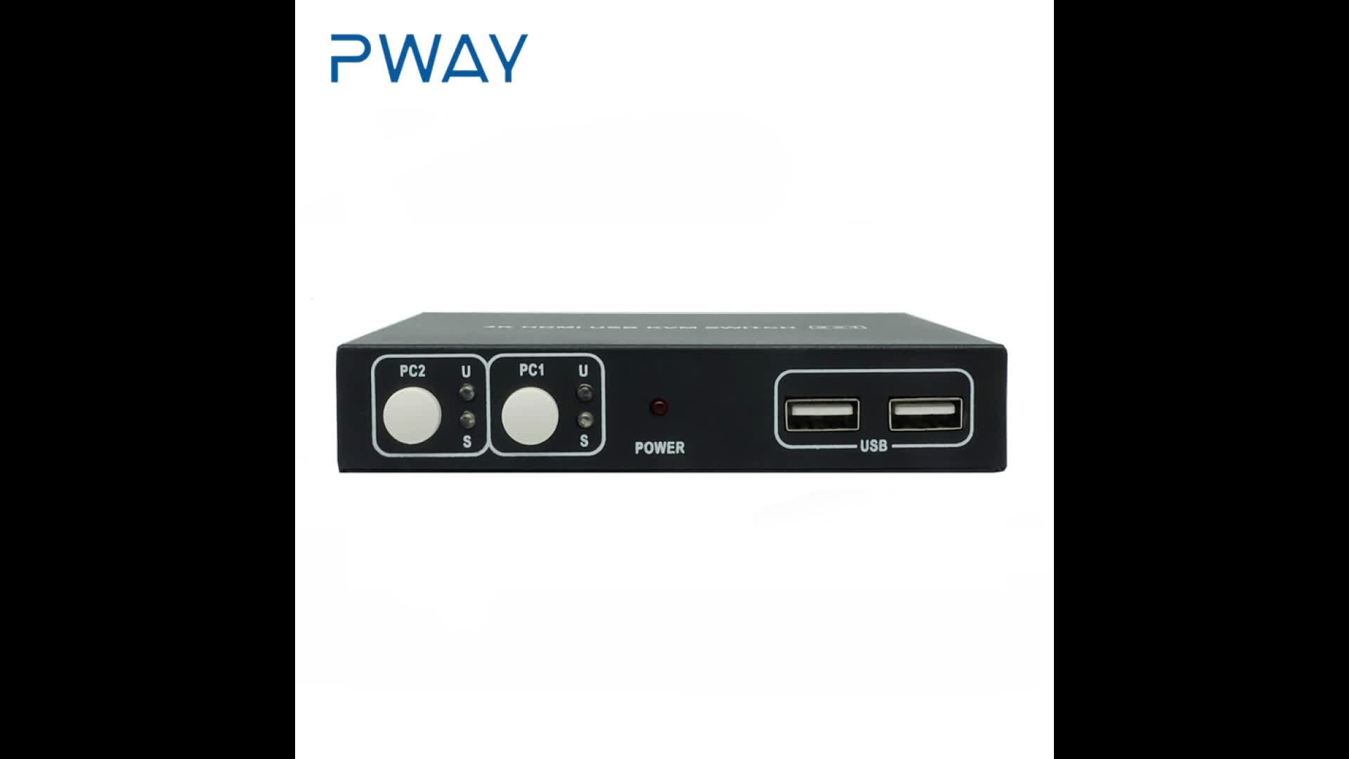 Pinwei PW-SH0201K resolution max up to 4Kx2K@30Hz supports Hot Key switch HD KVM switch