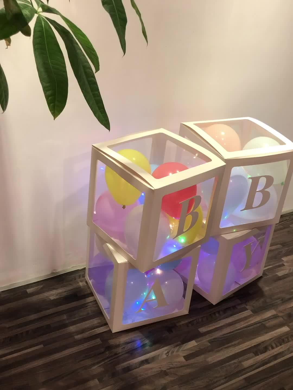 ורוד תינוק מקלחת קופסות המפלגה קישוטי 4 pcs שקוף עוגת קופסות מכתב אהבת תינוק בלוקים עיצוב ילדה תינוק בלון תיבה