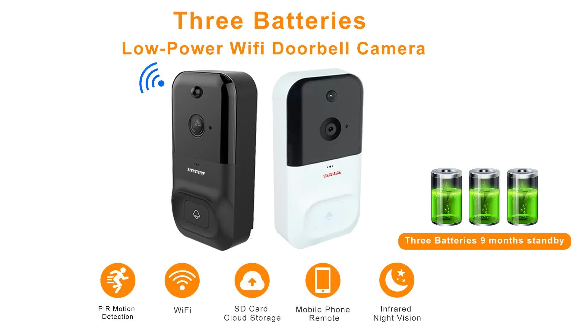 Sinovision HD 720P casa inteligente Sensor de movimiento PIR inalámbrico inteligente timbre Cámara tarjeta SD de 128GB de almacenamiento en la nube p2p móvil