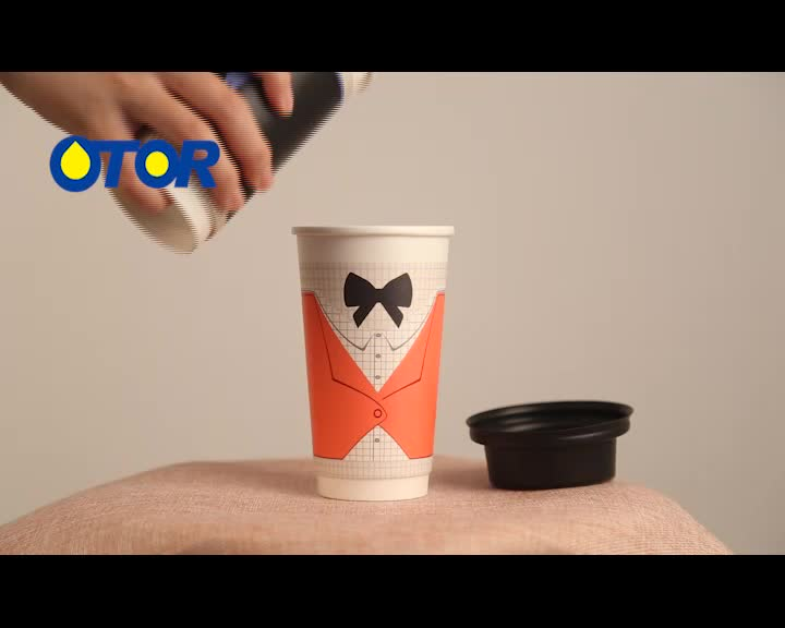 OTOR brand 12oz custom logo printed disposable paper coffee gentleman cups with lid for party