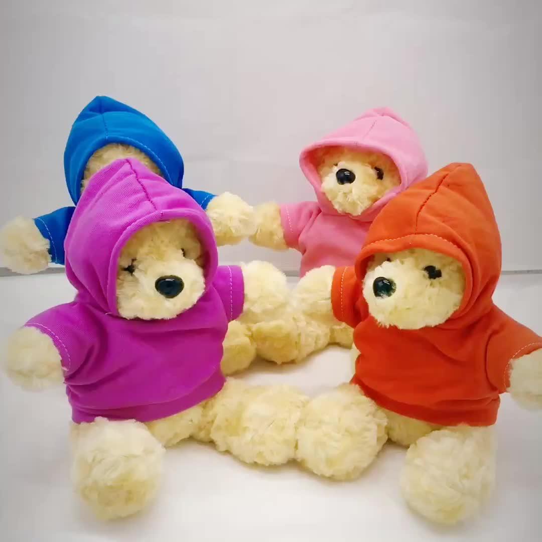 कंपनी शुभंकर कम MOQ कस्टम मुद्रित लोगो के साथ व्यक्तिगत भरवां नरम खिलौना आलीशान भूरा भालू hoodies