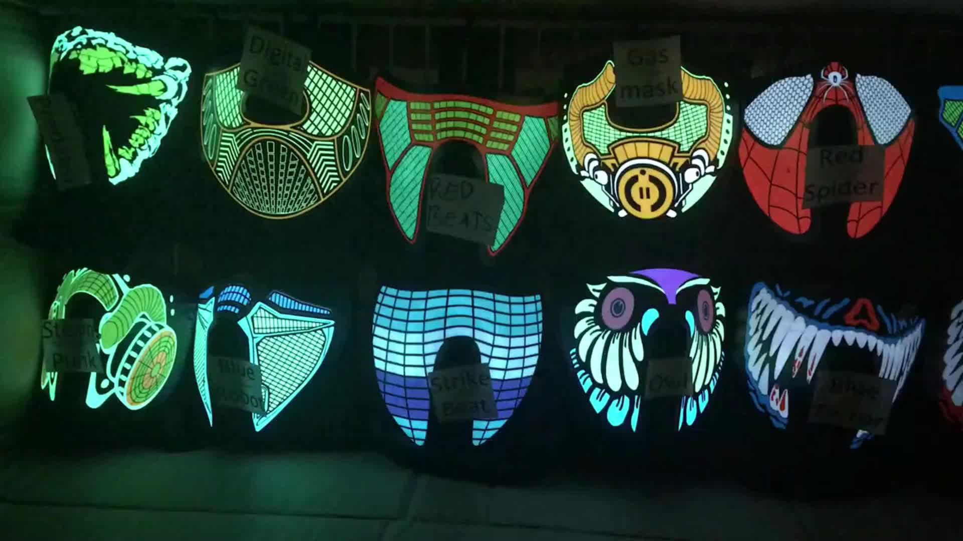 2020 yeni ürün özel tasarım light up EL paneli led ses reaktif maskesi DJ rave parti olay festivali