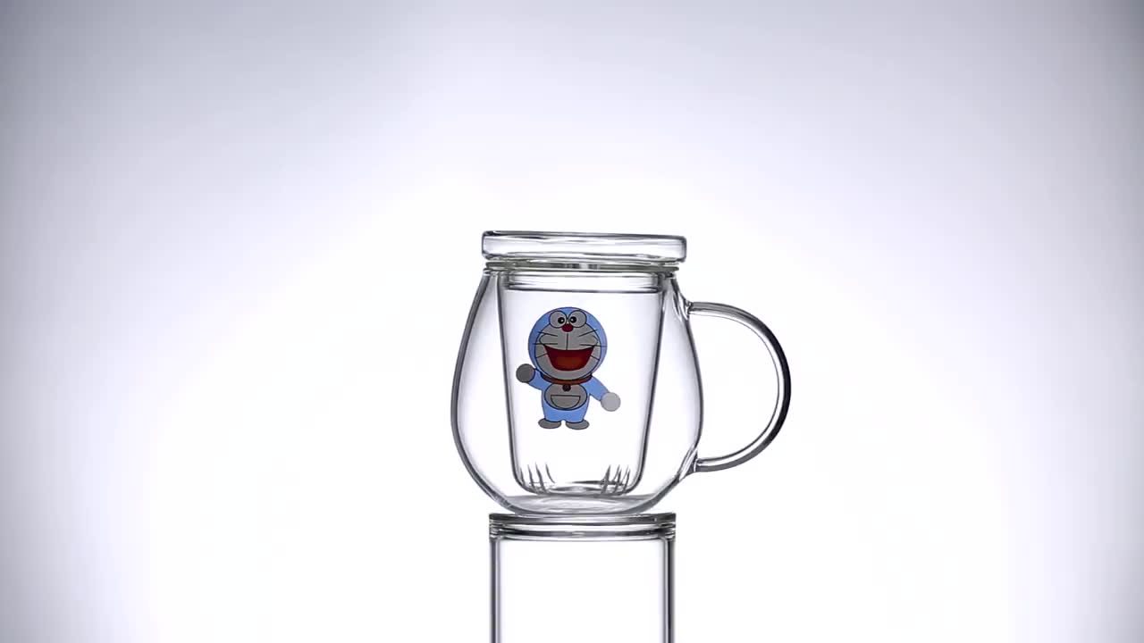 Fashion Simple Style Tea Mug with Infuser and Lid Glass Tea Cup
