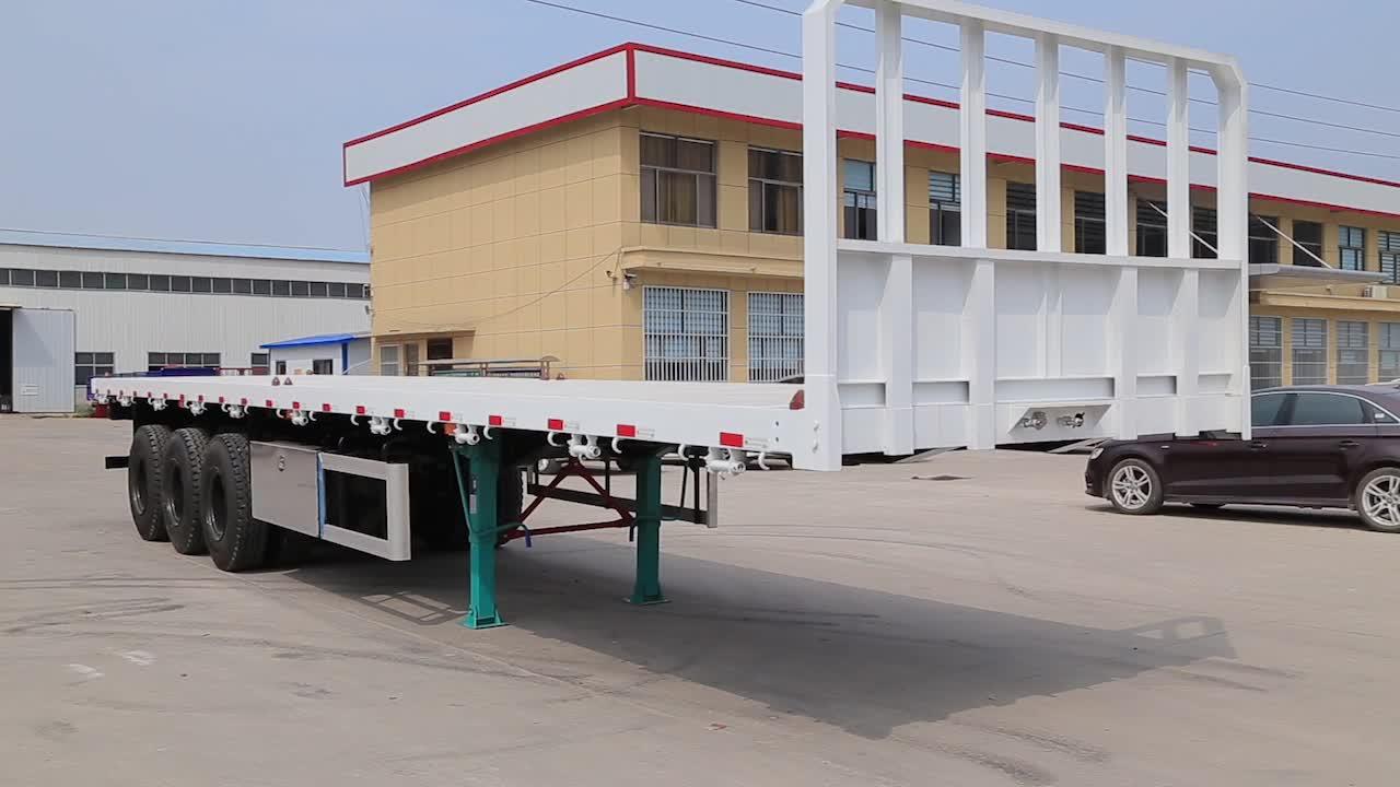Precio bajo plana contenedor de transporte semi remolque o remolque de cama plana de