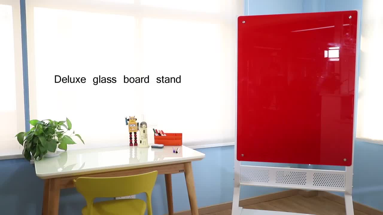 Colourful Mobile Glass White Board with Stand