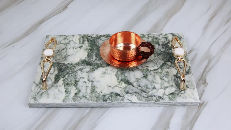 Desain Baru Grosir Marmer Keju, Melayani Nampan dengan Handle untuk Peralatan Rumah Tangga/Dapur