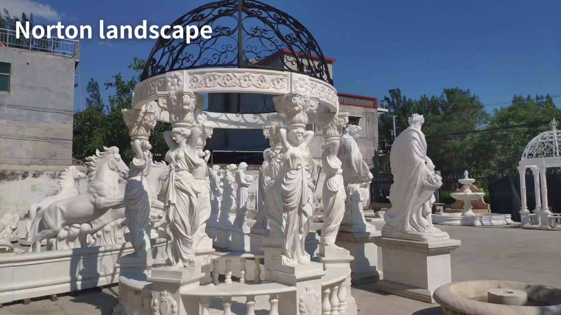 Handmade natural stone wedding decoration pavilion white marble woman statue garden marble gazebo
