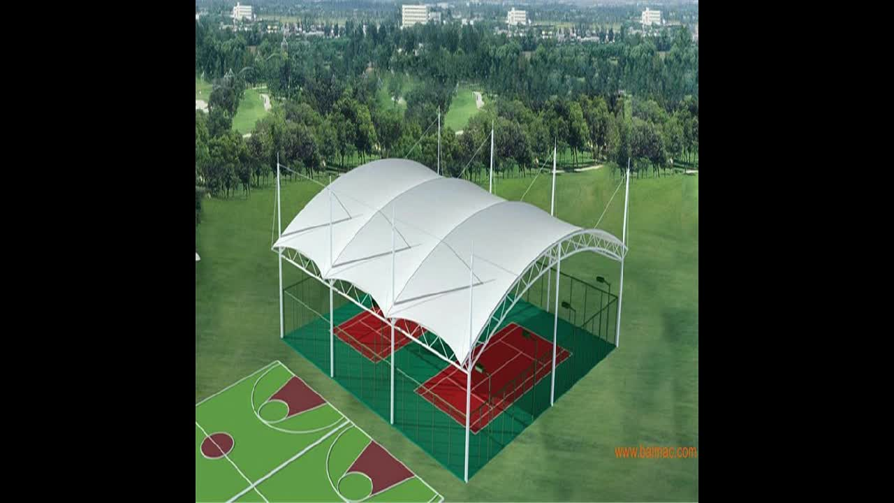 Factory Space Frame Membrane Roofing Volleyball Court Stadium Roof Steel Structure Canopy