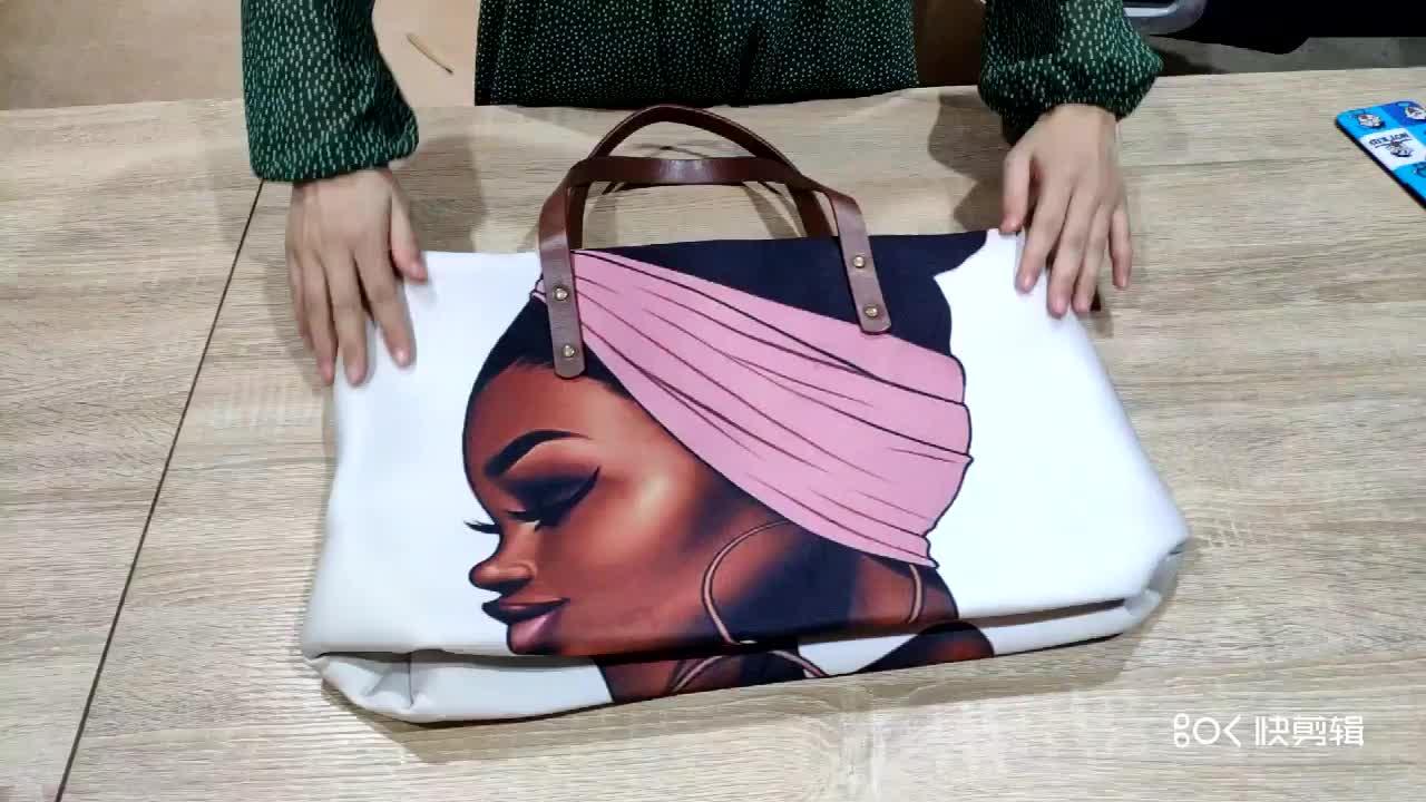 लक्जरी डिजाइन हैंडबैग देवियों महिलाओं काले कला अफ्रीकी लड़की मुद्रण 2pcs/सेट हाथ बैग और बटुआ महिलाओं Bolsas पर्स