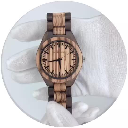 Shifenmei OEM ड्रॉप शिपिंग कस्टम की सालगिरह उपहार उत्कीर्ण लकड़ी पुरुषों घड़ी Wristwatches प्राकृतिक आबनूस अनुकूलित लकड़ी घड़ी