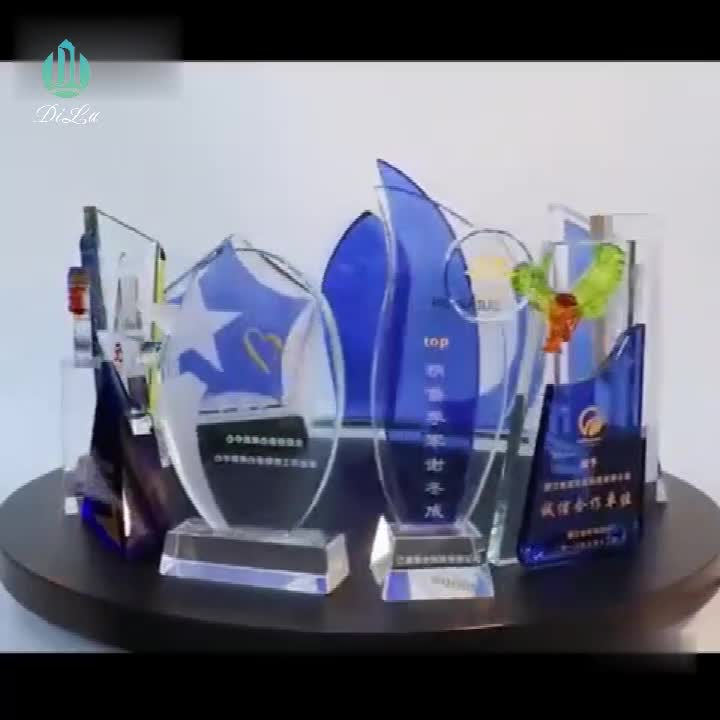 Jinhua Pujiang made in china blue color blank crystal trophy award with sandblasting logo