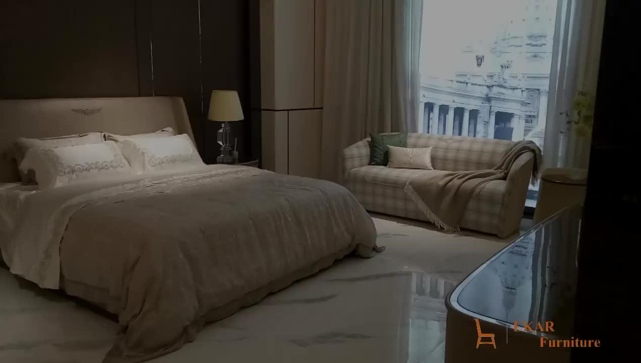 Villa Furniture Leather Divan Design King Size Frame Modern Luxury Bed