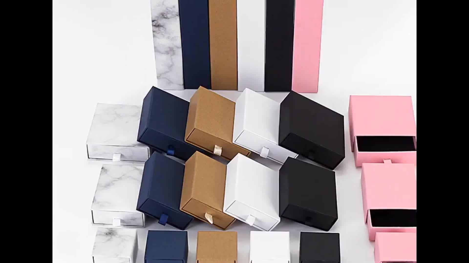 Marmo di cartone di carta orecchino ad anello scatola di imballaggio di monili regalo di nozze box cassetto