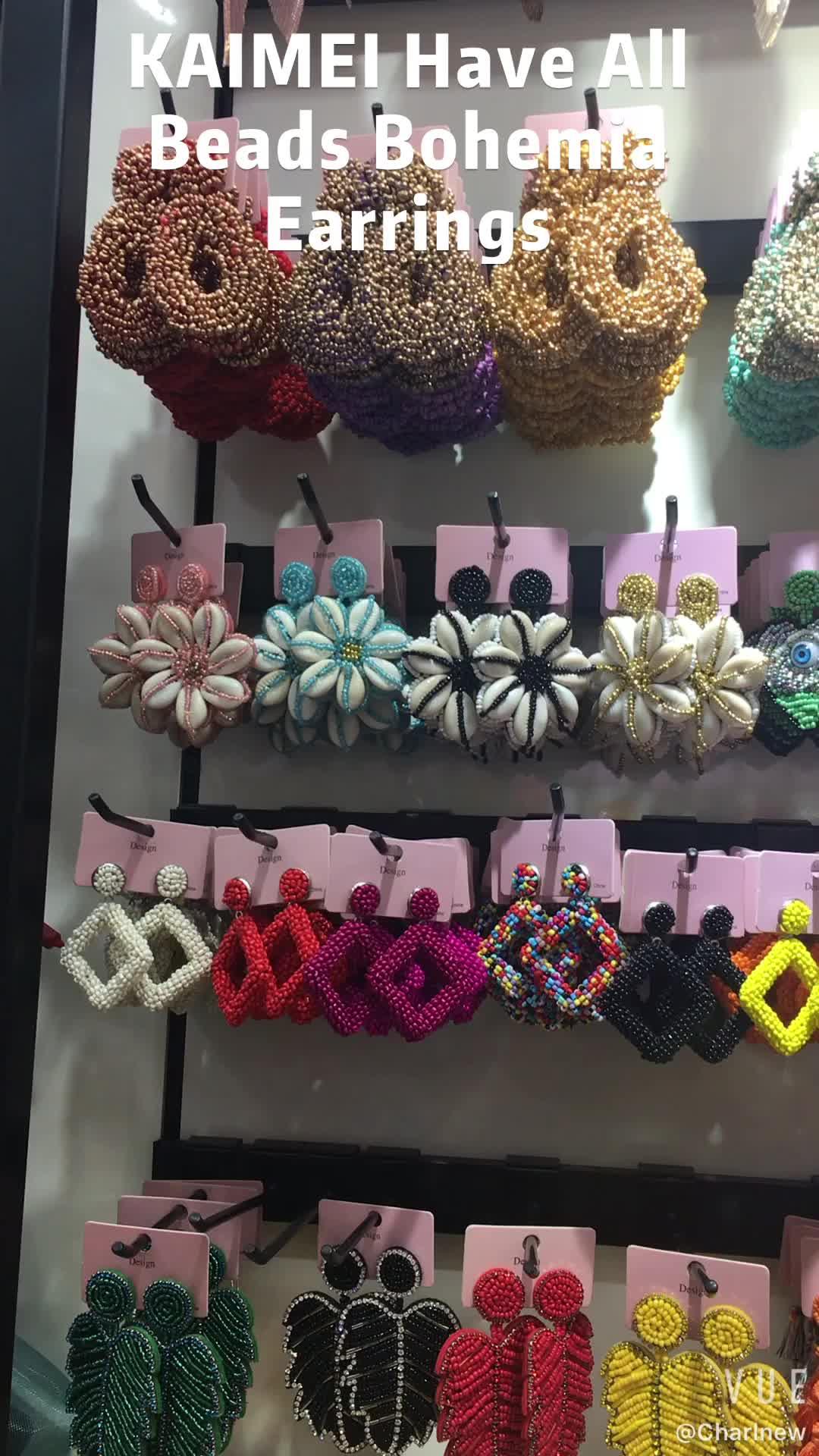 Boucles d'oreilles Kaimei BA Style vert bleu perles pour femmes 2019 bohème luxe bijoux déclaration gland graine perlée boucles d'oreilles cadeaux