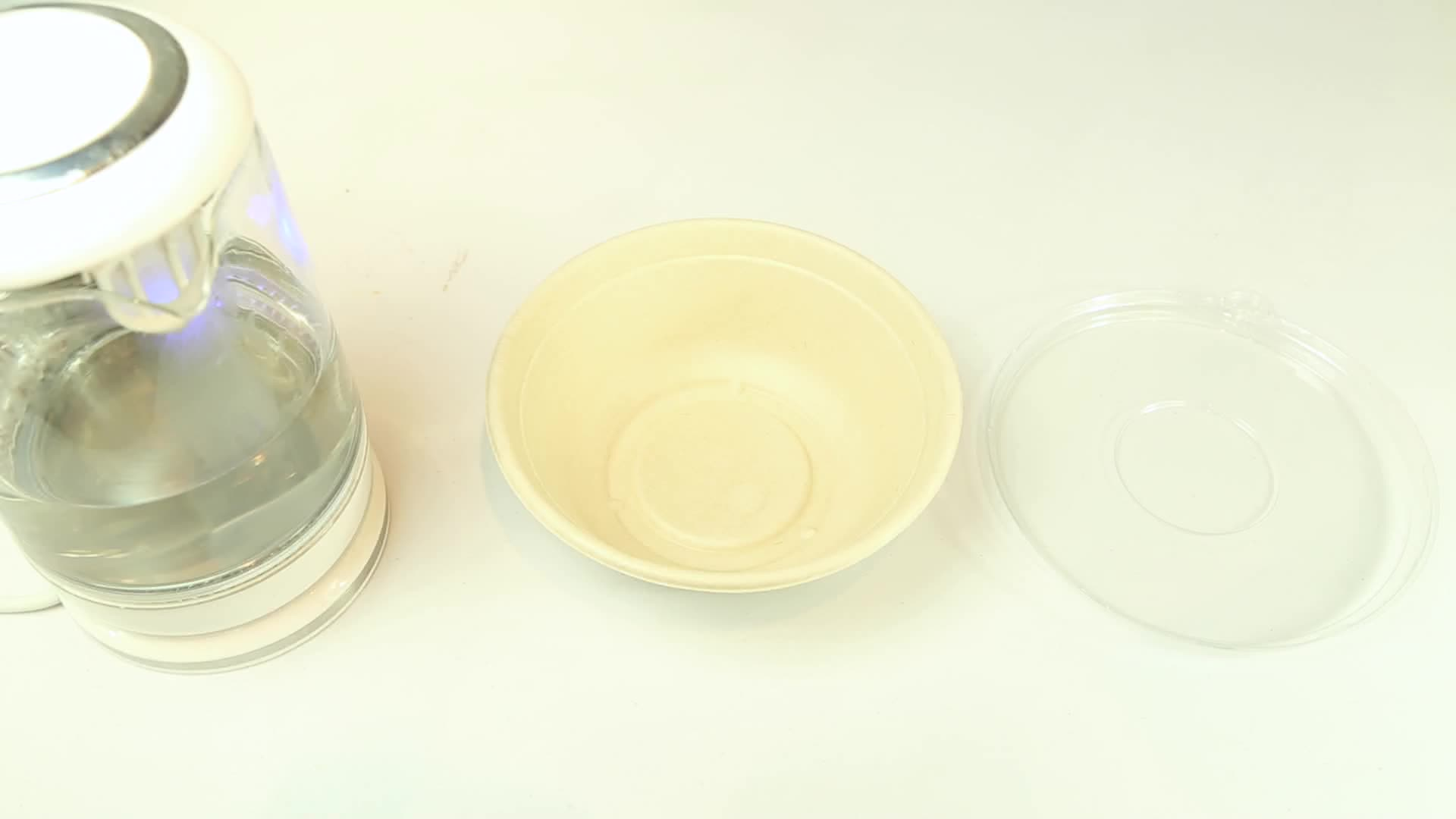 24/30/32/40 Oz Fast Food Paper Bagasse Pulp Round Bowl With PET/PLA/PP LID