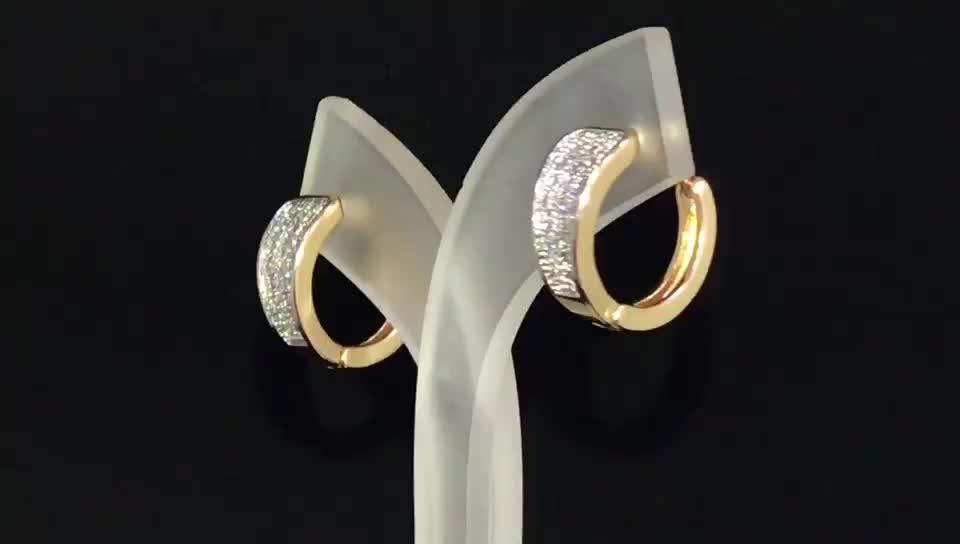 Birthday Gift Cheap European 18K Gold CZ Hoop Earrings For Women