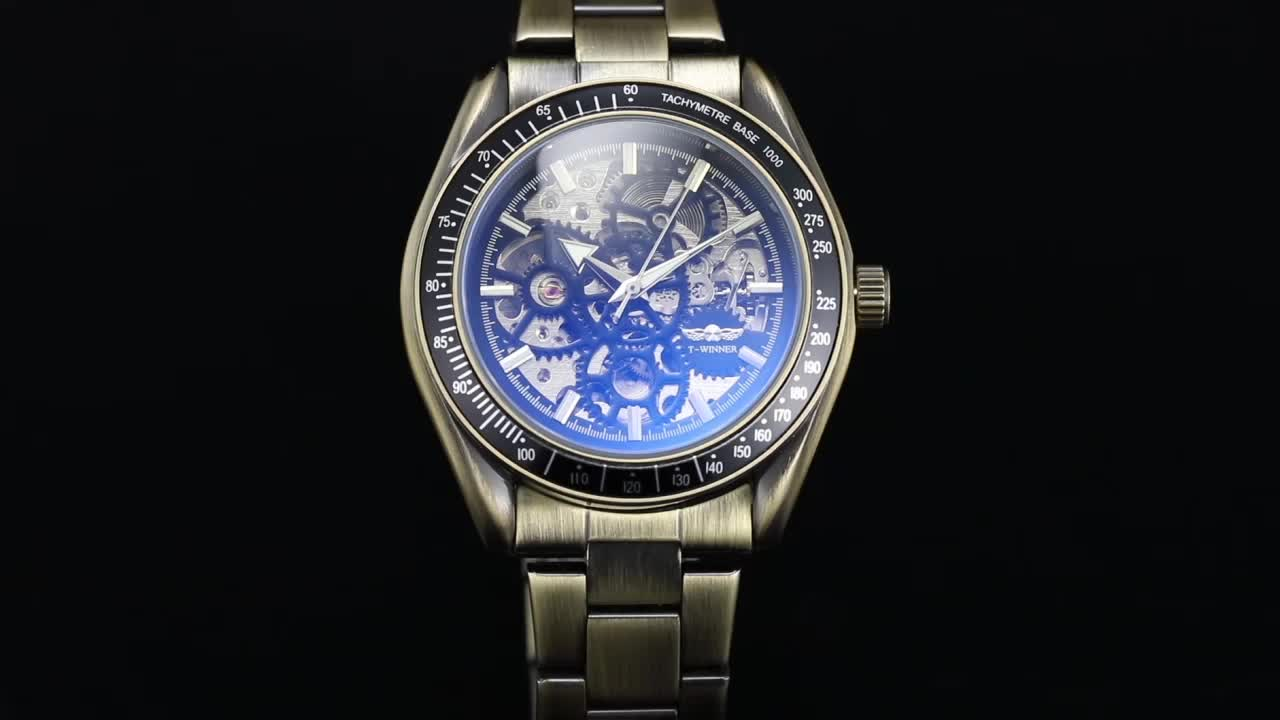 2018 T-Winner Fashion New Design Men Automatic Skeleton Time Watches