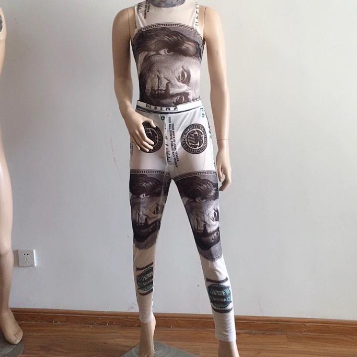 Fashion Print Sheer Mesh Pants Set Clubwear See Through Jumpsuit Women Two Piece Outfits Bodysuit Leggings
