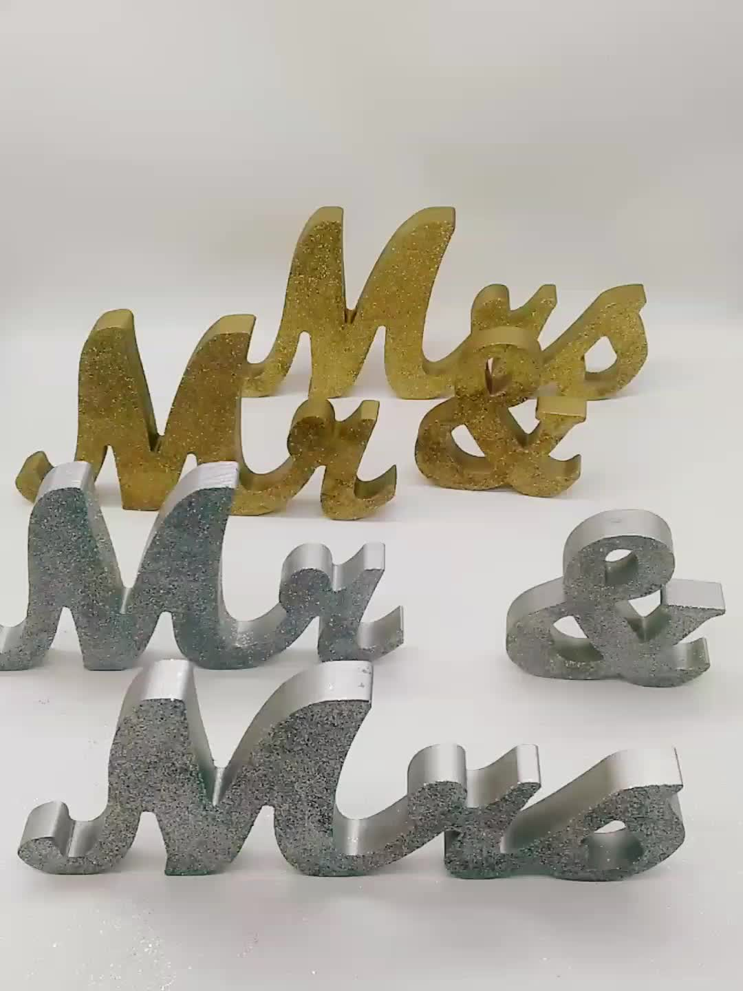 Silver Mr and Mrs Letters Wood Signs For  Wedding