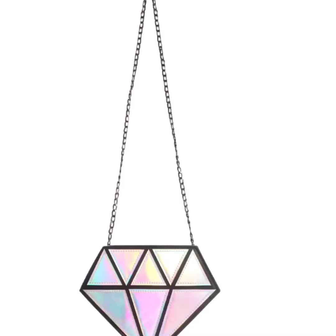 Laser Reflective Fashion Chain PU Cross Bag Diamond Bag Geometric Holographic Handbag