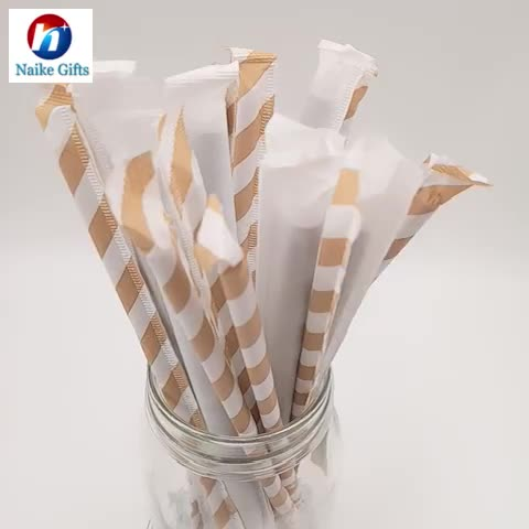 Disposable eco-friendly printed bamboo design paper drinking straws