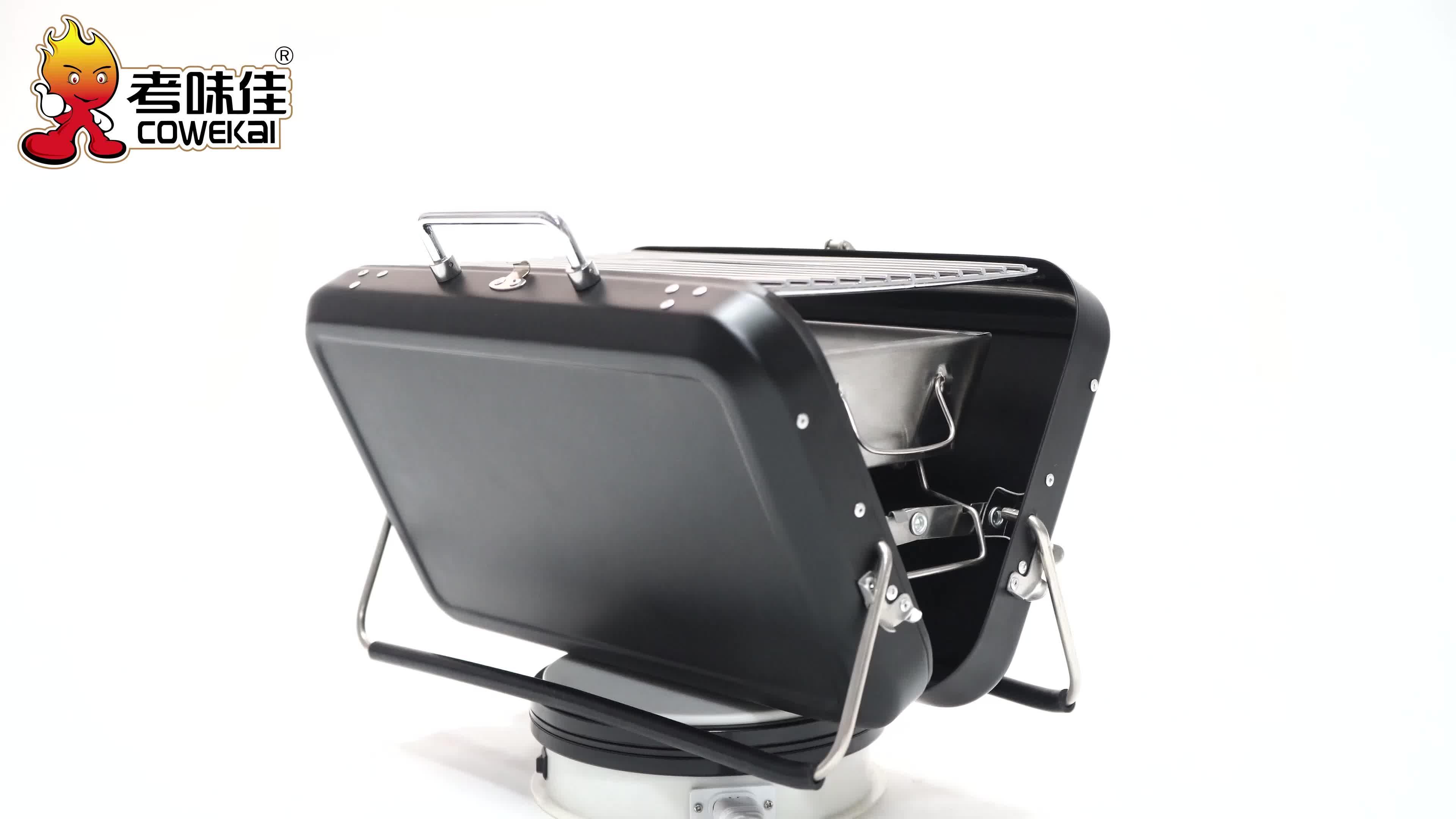 Koffer Ontwerp Outdoor Metalen Rvs Koreaanse Japanse Camping Draagbare Barbecue Grills Houtskool BBQ Grill