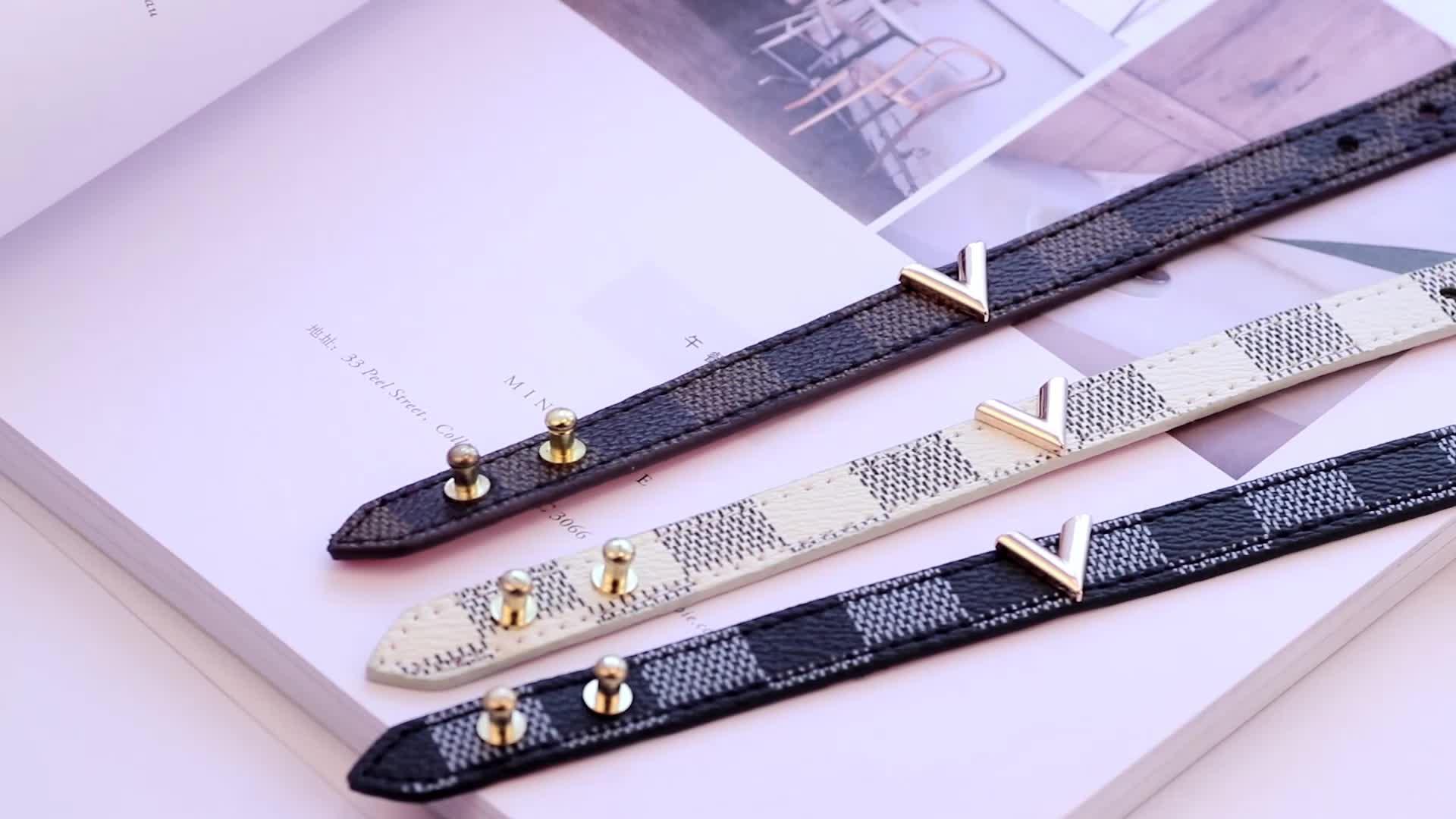 LIKA Новая мода Сплав V образный решетки Кожа PU Регулируемая металлическая пряжка браслет для мужчин или женщин