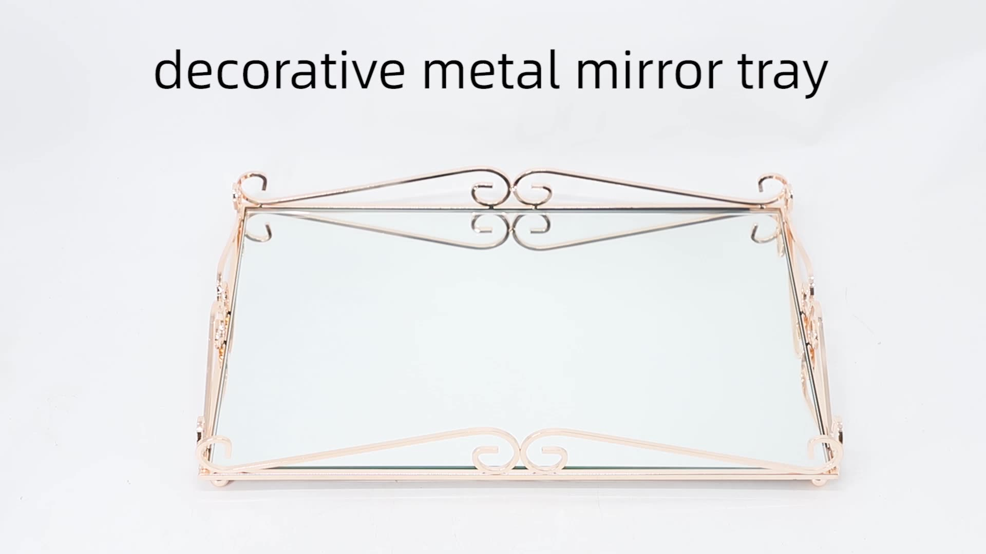 rectangular wedding decoration glass mirror serving tray food serving and luxury decoration Enlarge the sense of space