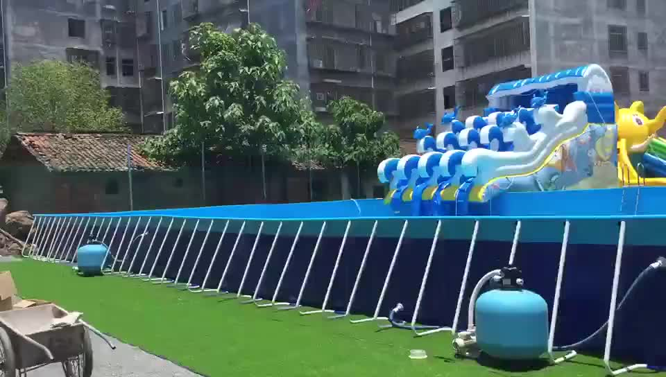 China big outdoor portable above ground steel frame swimming pool equipment for sale
