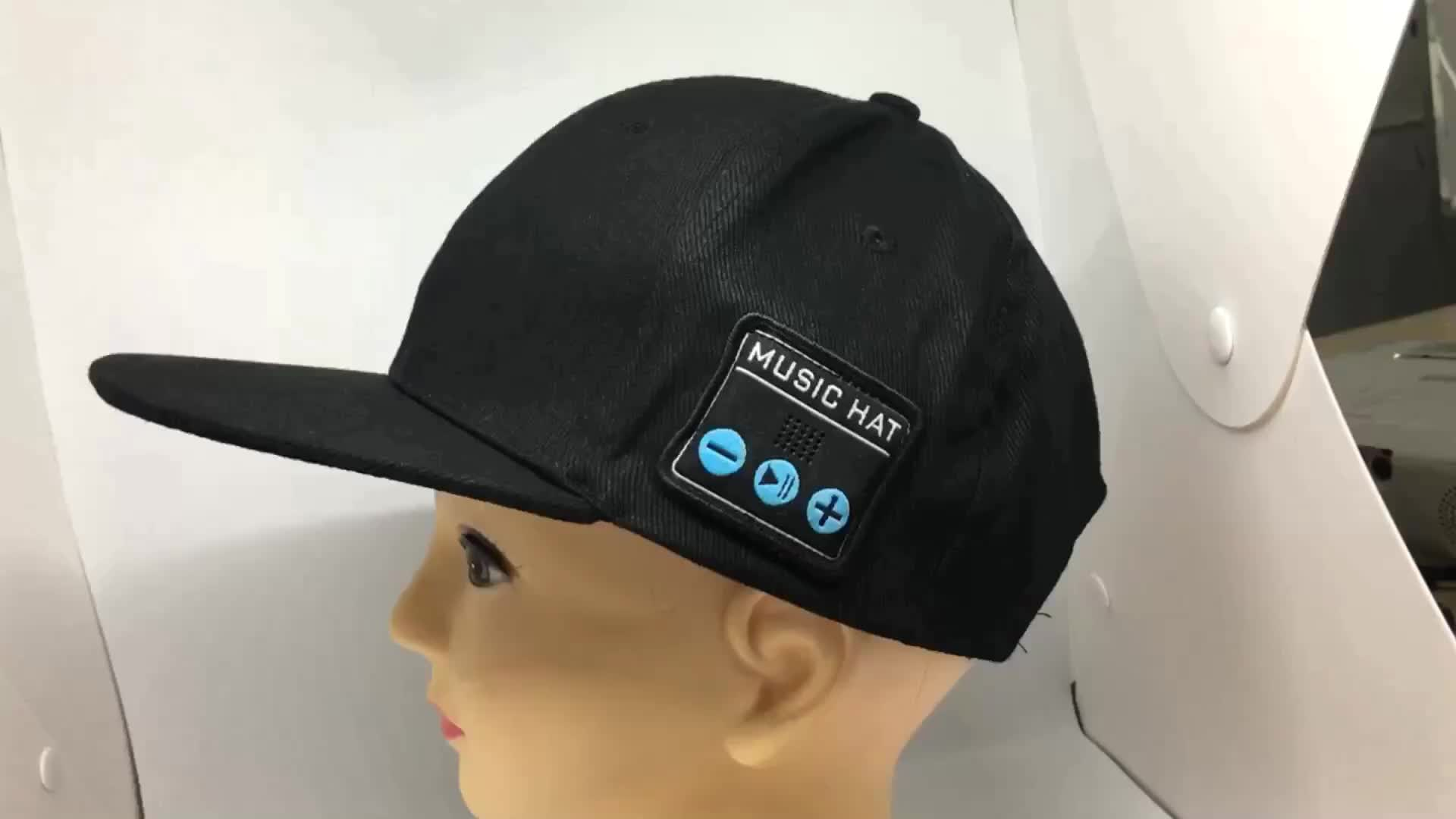 Wholesale Gorros Snap-back outdoor sport cap music and phone function hat  with Blue tooth e2880249493