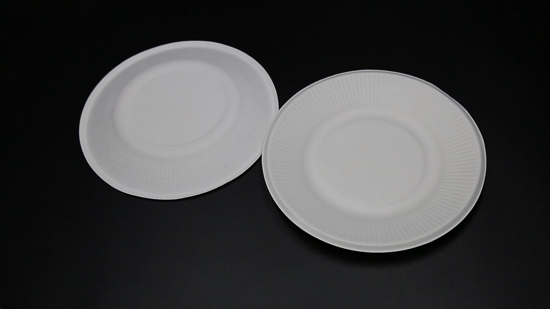 bagasse food trays Biodegradable dinnerware set, 8 inch sugarcane round plate