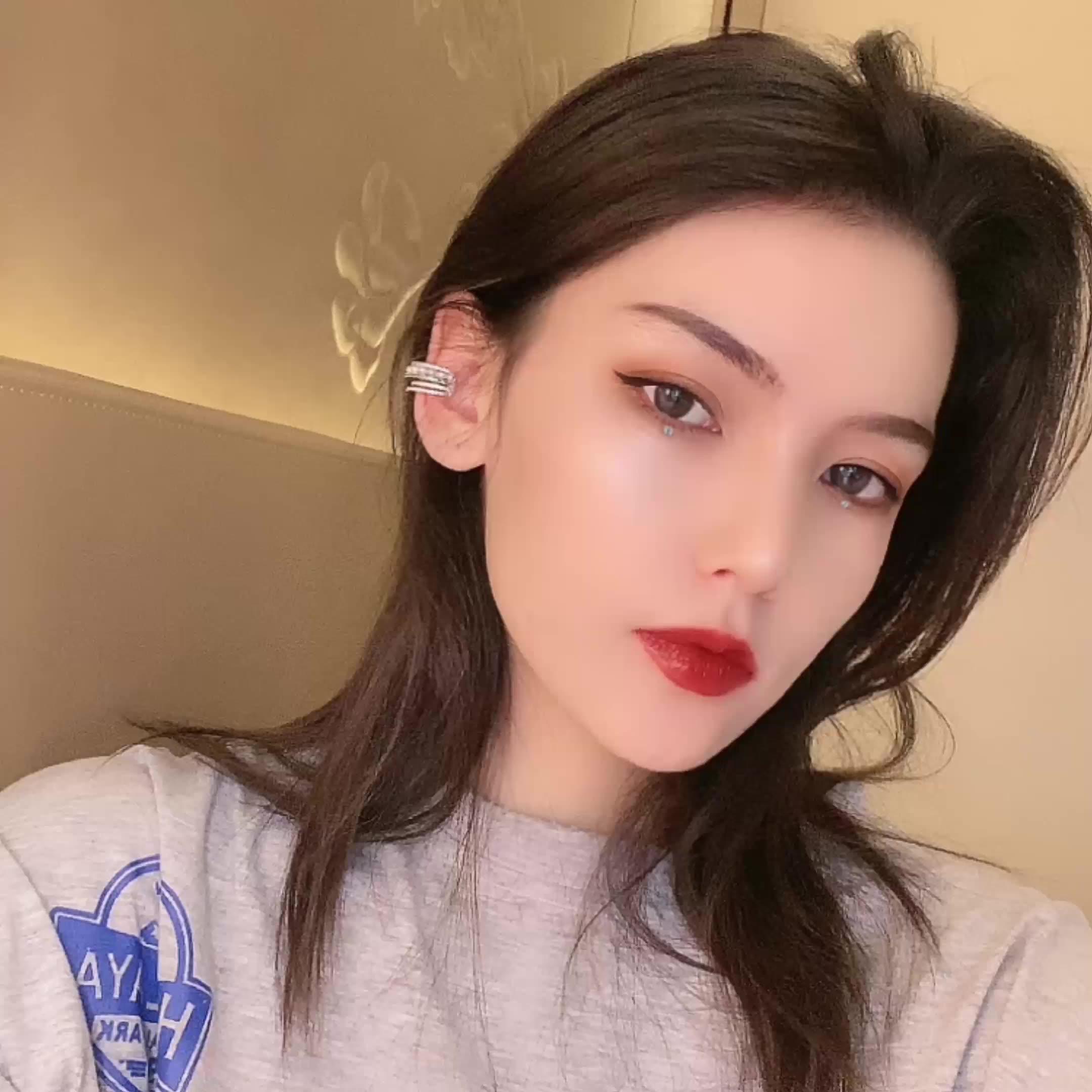 Women 925 sterling silver non pierced ear cartilage clip Earrings opal ear clip cuff earrings sterling silver ear cuff earrings