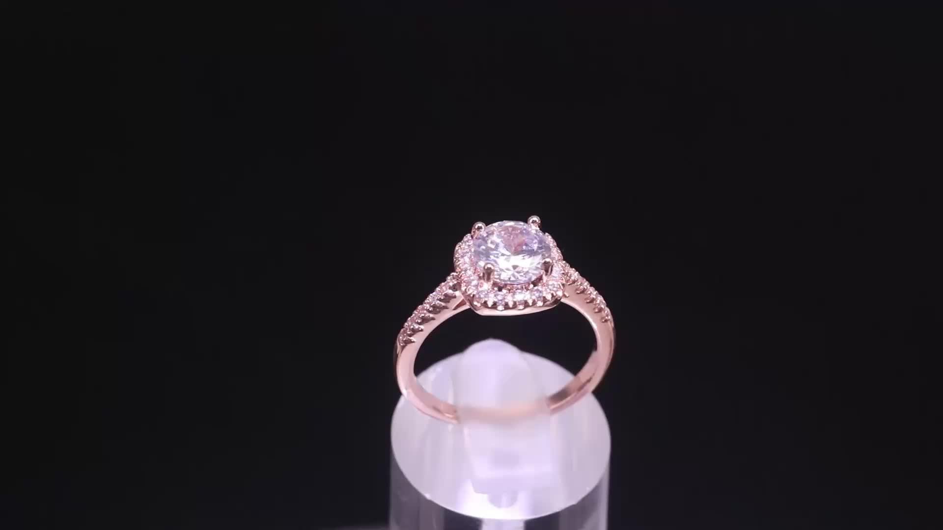 Hainon wholesale women 1 carat red diamond price rings wedding engagement gold rose gold 5-12# ring