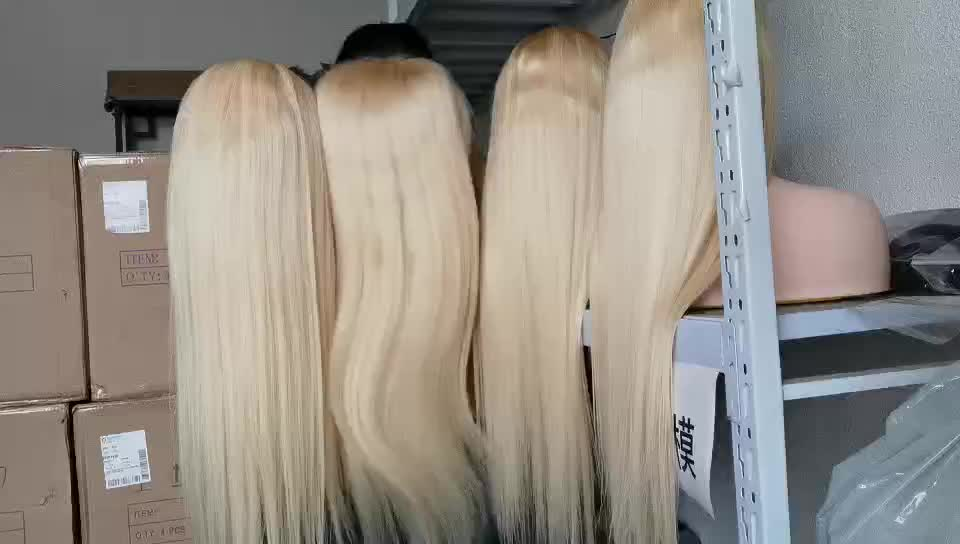 613 Blonde Transparent Lace Frontal Wigs 100% Unprocessed Virgin Brazilian Straight Human Hair 13x4 Pre Plucked Lace Front Wig