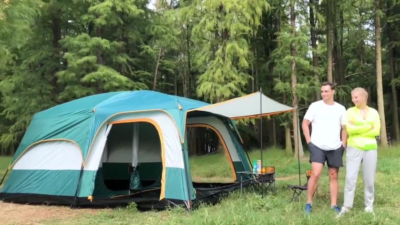 De 5 a 10 persona impermeable glamping fiesta inflable tiendas al aire libre camping con dos dormitorios