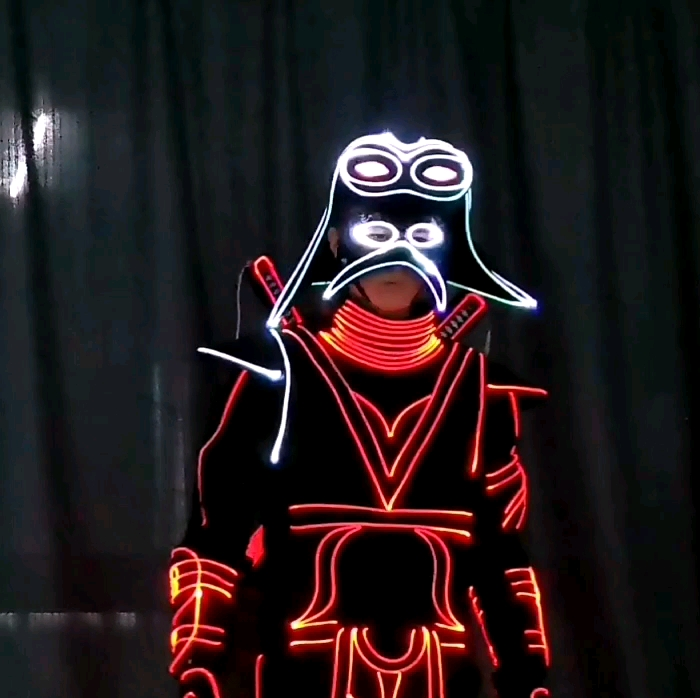 Wireless controlled led tron dance costume,programmable LED tron clothing, led jacket