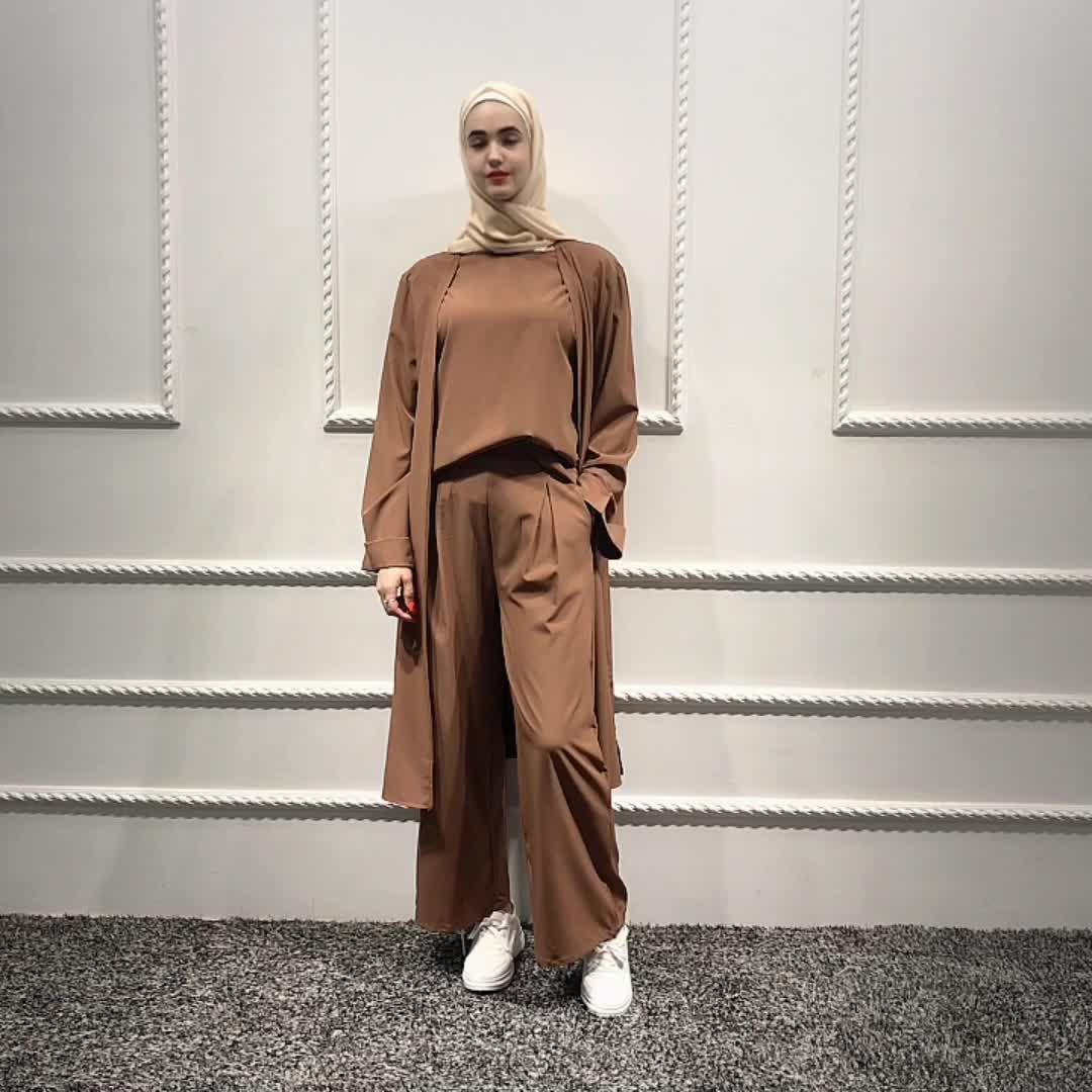 Hot sale fashion design muslim daily wear 3-piece set abaya