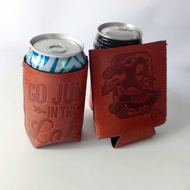 عالية الجودة بو الجلود زجاجة بيرة يمكن مبردات حامل زجاجات قصير لعلب 330 مللي