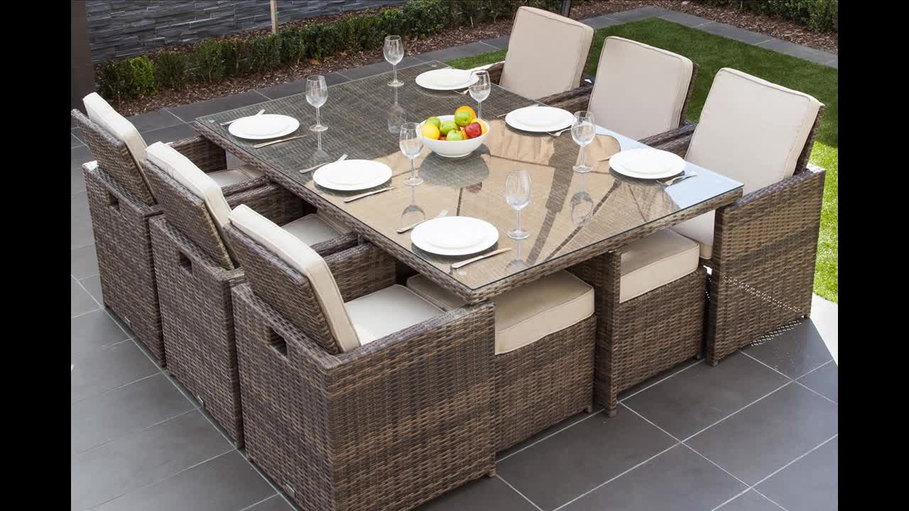 Hot Sale 9 Seater Rattan Cube Tables And Chairs Garden Porch