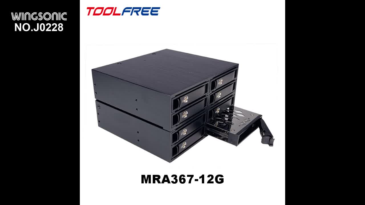 TOOLFREE 2.5 inch 4 Bay SAS 12G SATA 6G Mobile Rack SSD/HDD Enclosure HDD Case Caddy 15mm Tray All Metal