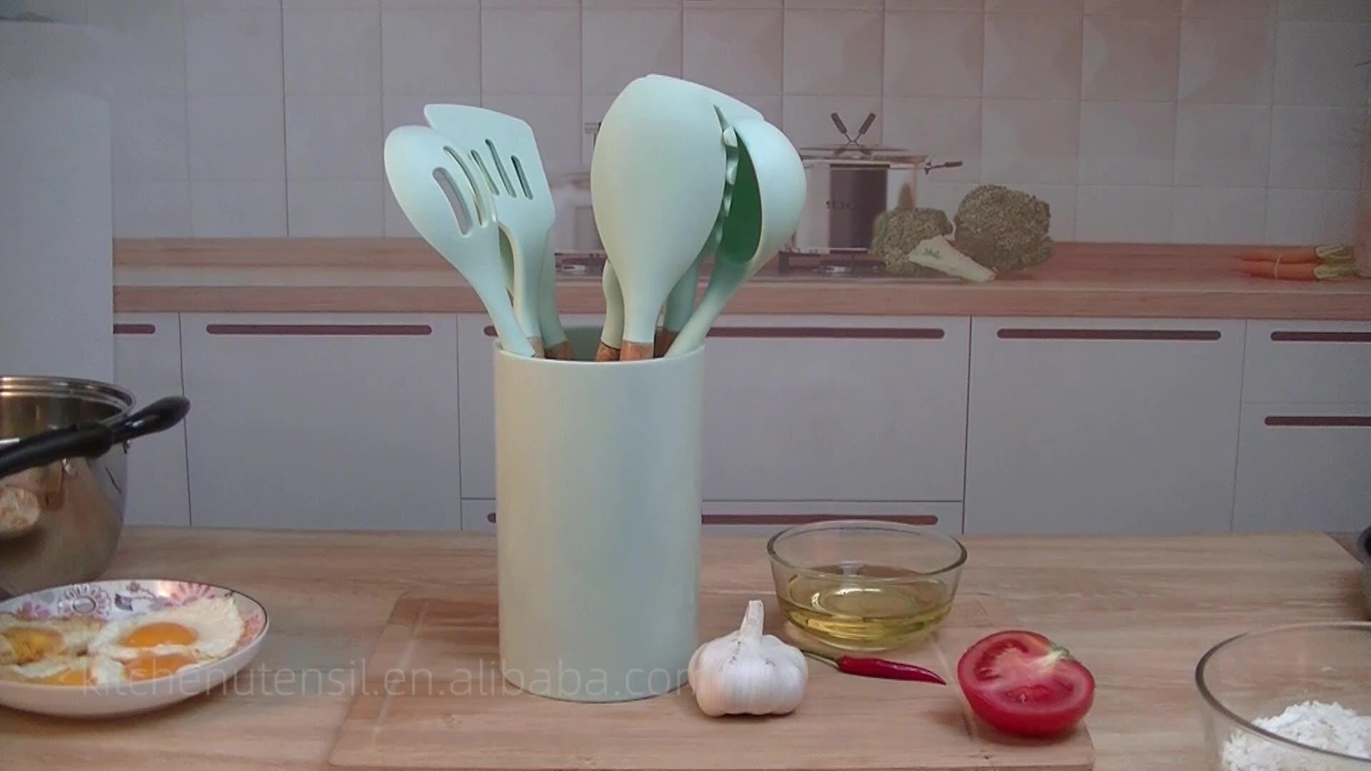 2020 新ウッドハンドルシリコーンキッチンアクセサリー 10 個ときれいに簡単にノンスティックシリコン台所用品ホルダー