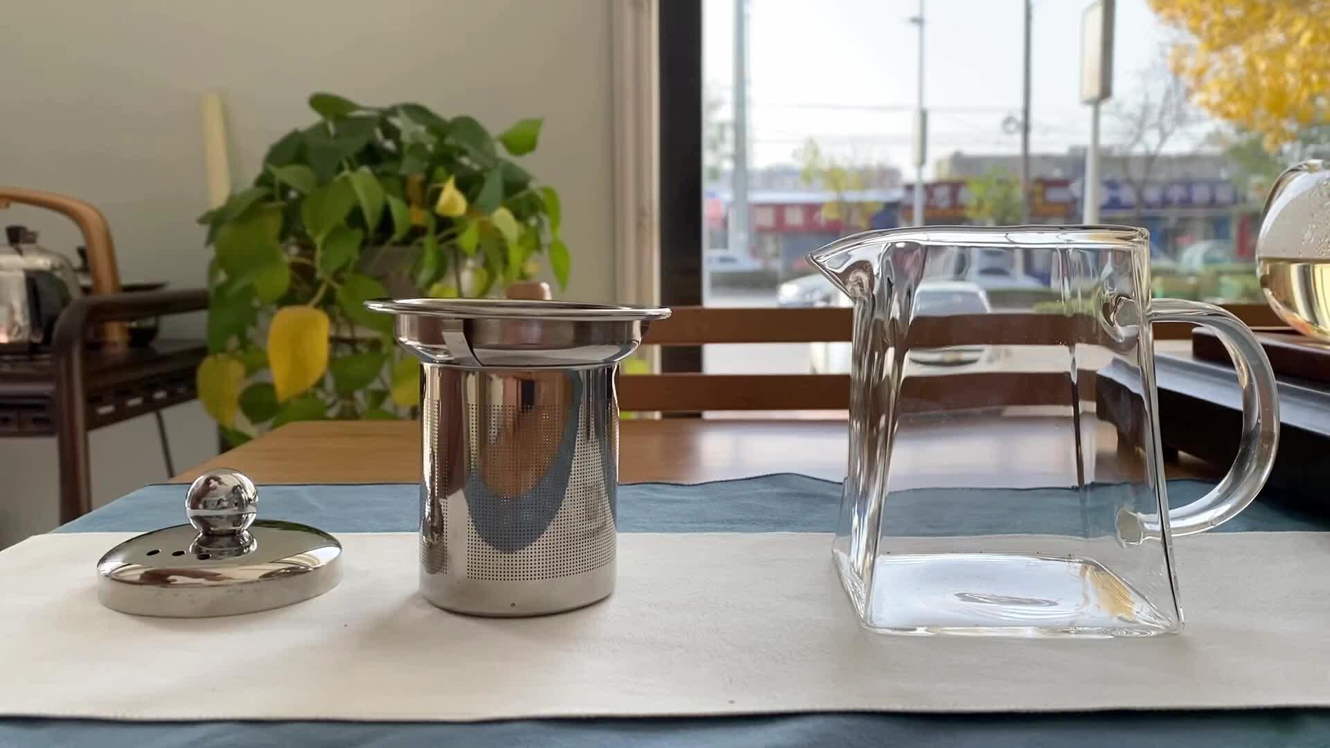 Nouvelle théière en verre pyrex de forme carrée avec poignée