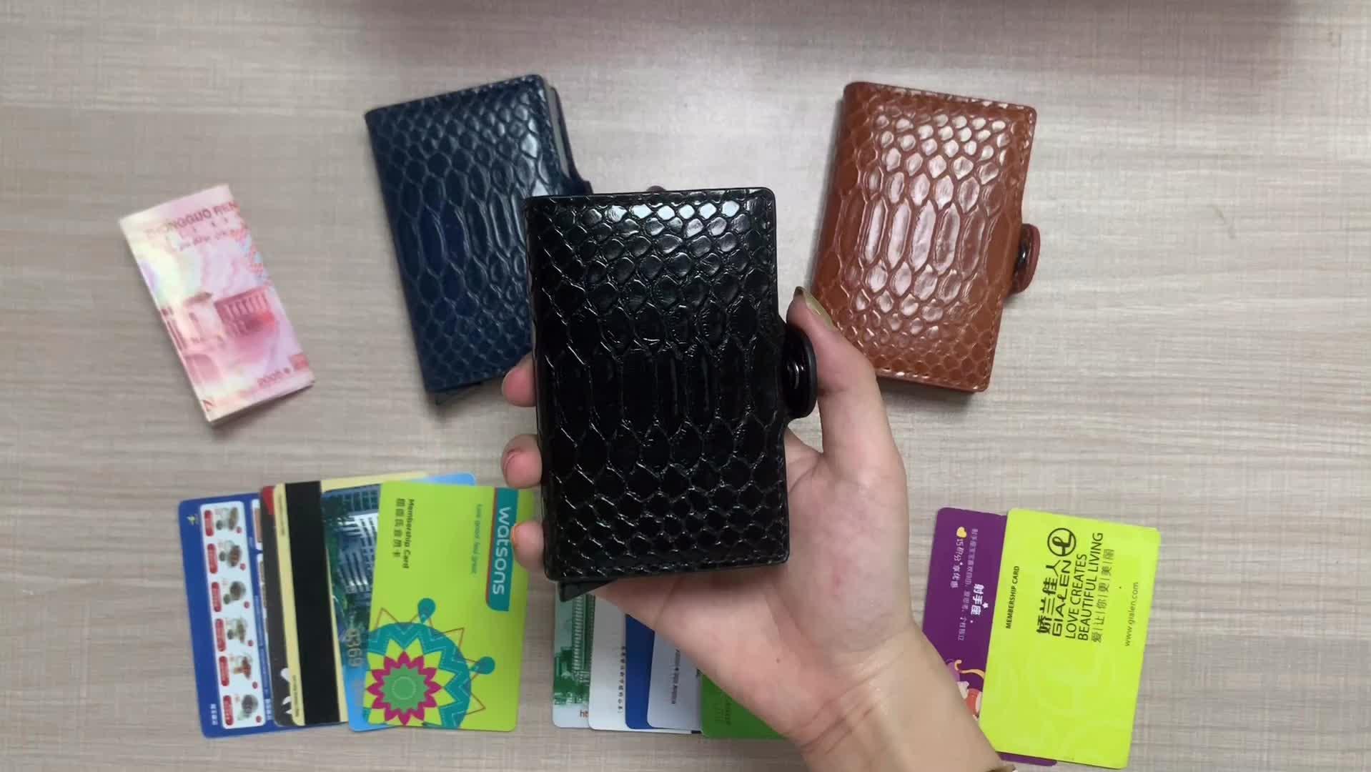 Anti Ladrão RFID ID Titular Do Cartão de Crédito Titular do Cartão de PU Carteira de Couro de Metal