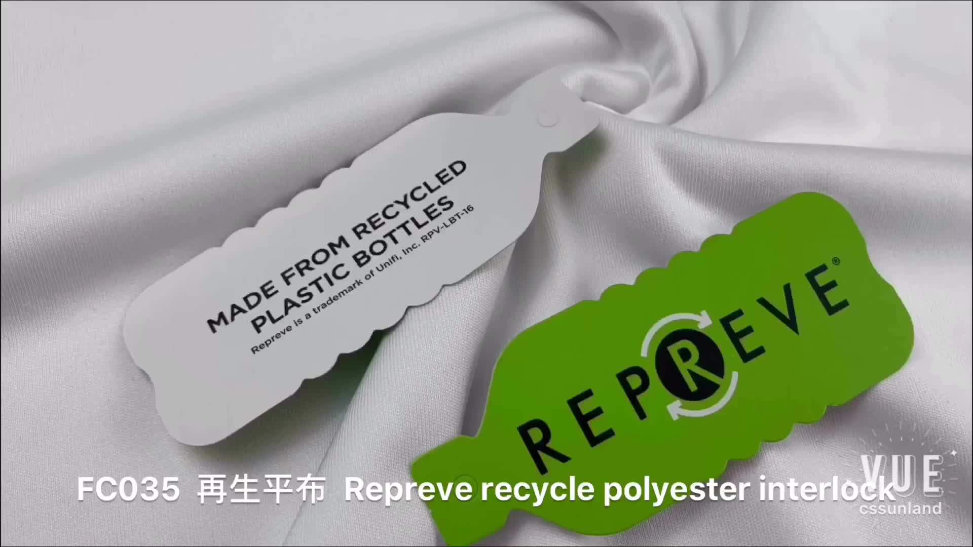 Lixívia branca tingida Unifi Repreve eco friendly camiseta pano 100% de reciclagem de poliéster de trama de tricô tecido interlock jersey