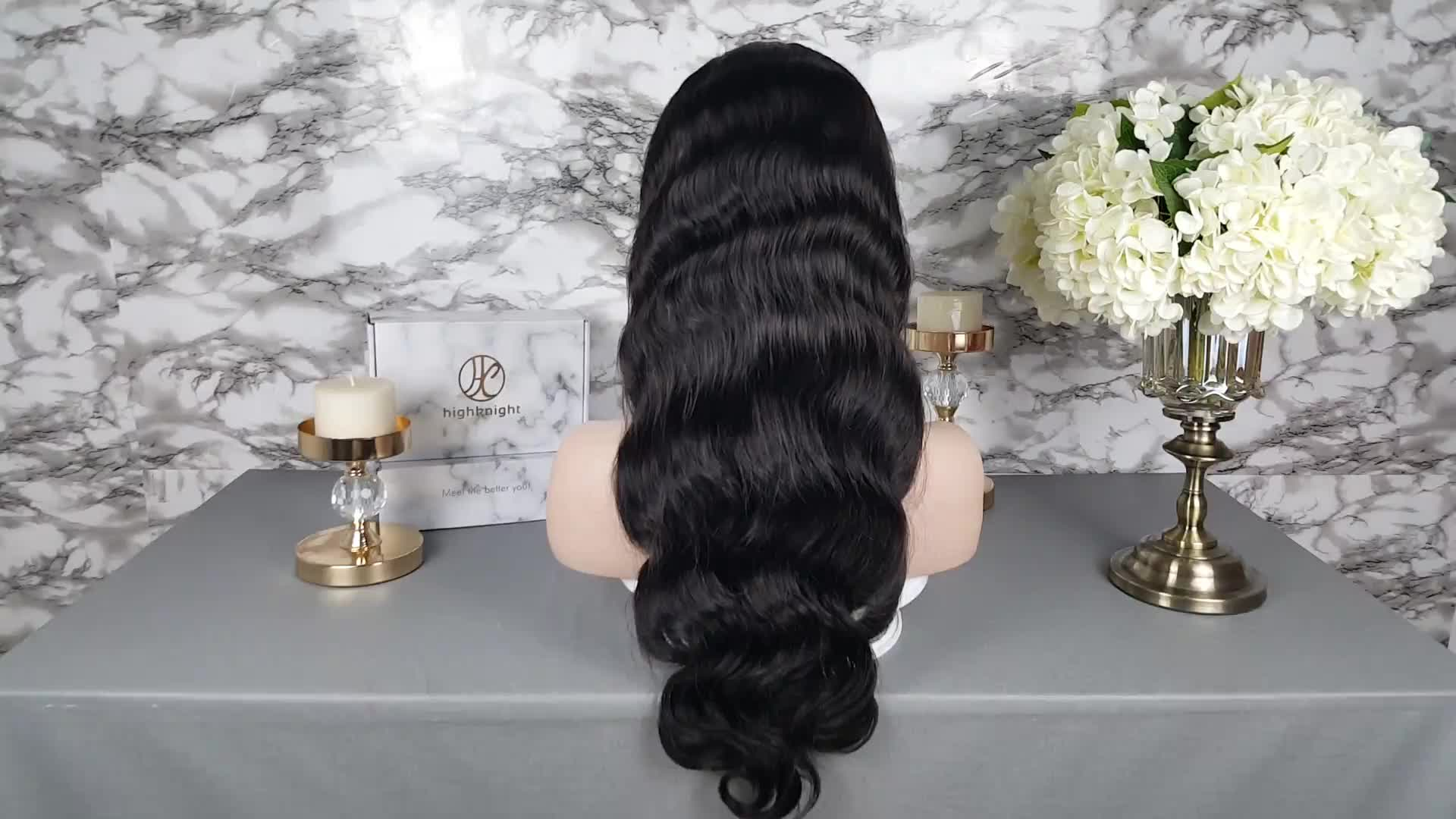 Highknight Body Wave Brazilian Virgin Human Hair Transparent Lace Front Wigs ,Full Lace Wig Unprocessed 100% Human Hair Wigs