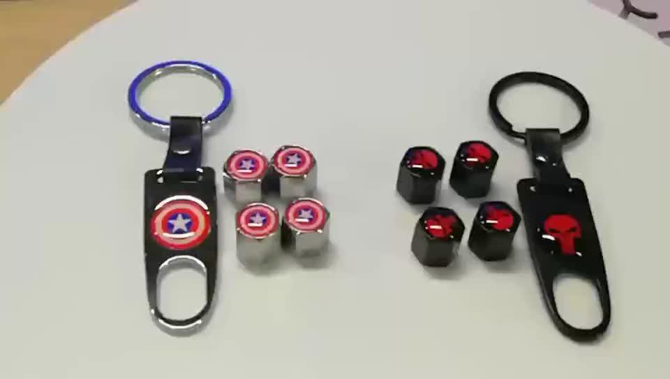 Schwarz Auto Rad Reifen Ventil Staub Vorbauten Luft Kappen Leder Keychain Mit Typ Logo Emblem
